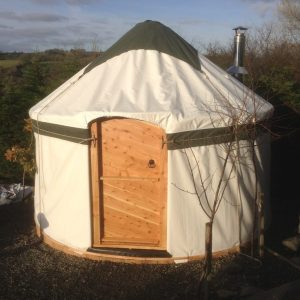 green trimmed yurt