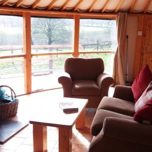 wooden yurt at Fron Farm Yurts