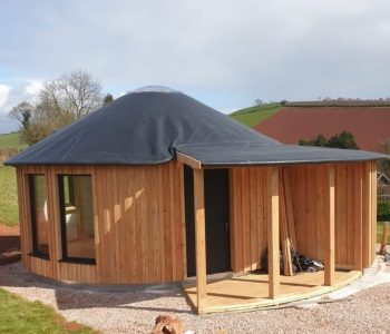 We also specialise in wooden Yurts and Roundhouses. We can custom design and build any sized roundhouse, suitable for year round use, made from locally sourced sustainable wood to suit your need, size and budget.